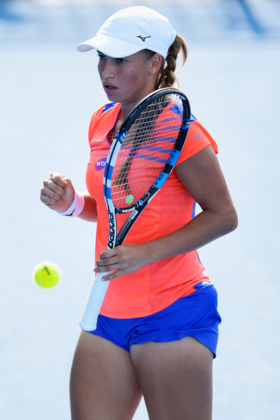 Putintseva fist pumps after winning a point | Photo: Brett Hemmings/Getty Images AsiaPac