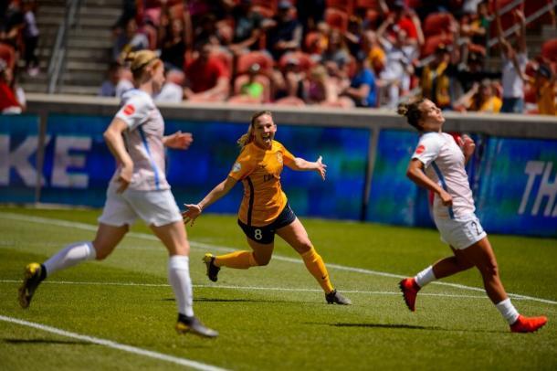 Amy Rodriguez celebrates scoring the opening goal | Source: Trent Nelson- The Salt Lake Tribune