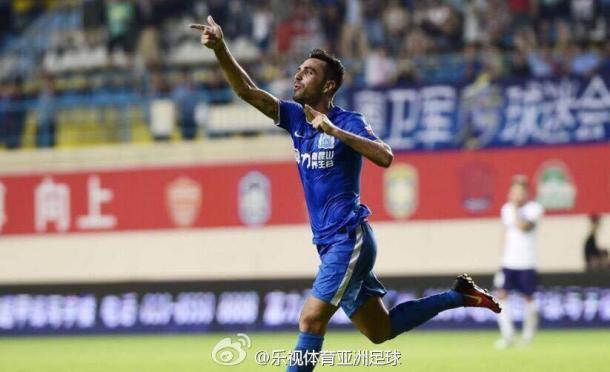 Eran Zahavi já tem seis gols em quatro jogos na China (Foto: Reprodução/ Weibo)