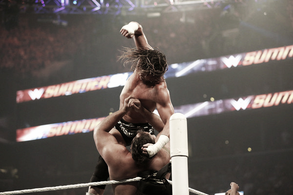 Dolph Ziggler hammers Rusev at Summerslam 2015 (Photo: YP Kim/Getty Images North America)