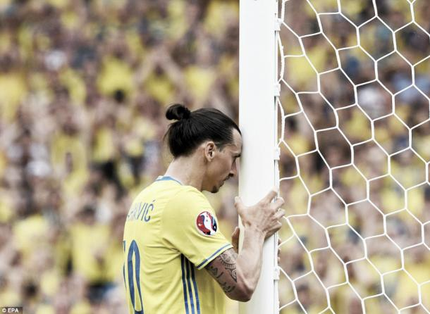 Above: Zlatan Ibrahimovic in action in Sweden's 1-0 defeat to Italy | Photo: EPA