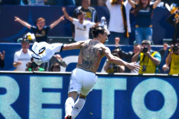 Zlatan Ibrahimovic led the LA Galaxy to an 4-3 come from behind victory over rivals LAFC. | Photo: Robert Hanashiro - USA TODAY Sports