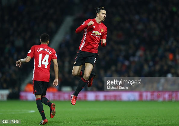 Zlatan celebrates his opener, assisted by Lingard | Photo via Getty Images