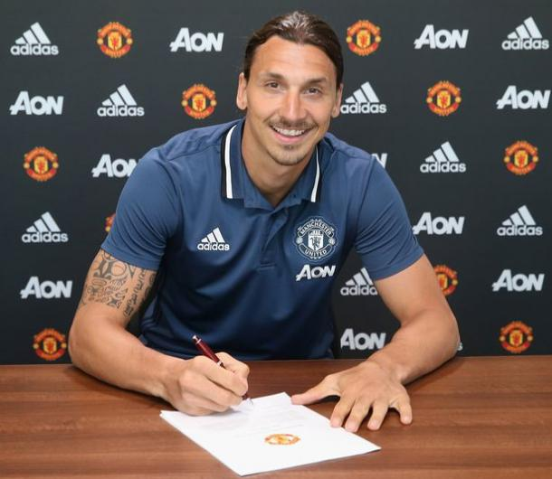 Above: Zlatan Ibrahimovic been unveiled as Manchester United player | Photo: manutd.com