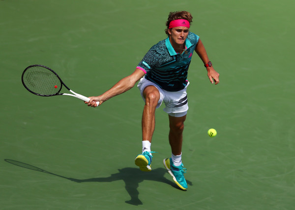 Zverev chases down a tough forehand during the loss. Photo: Getty Images