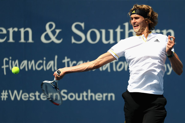Zverev strains for a forehand. Photo: Rob Carr/Getty Images