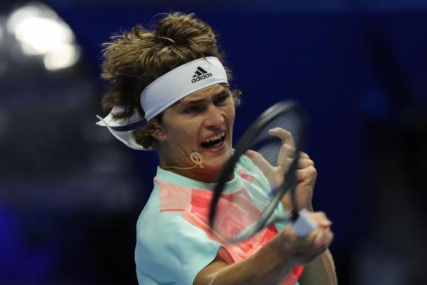 Alexander Zverev hits a forehand during his second round match. Photo: St. Petersburg Open