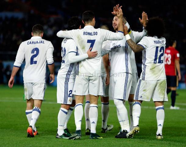 El equipo celebrando el gol junto a Cristiano Ronaldo