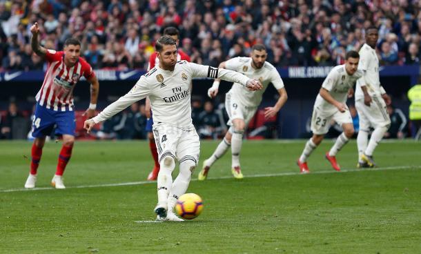 Ramos marca su sexto gol al Atlético/ Foto: Real Madrid C.F