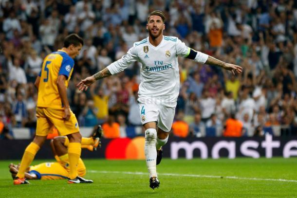 Sergio Ramos celebrando un gol ante el Apoel. Fuente: Real Madrid