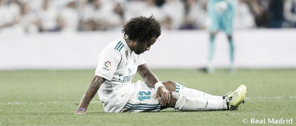 Marcelo sufre su lesión   Foto: Real Madrid CF