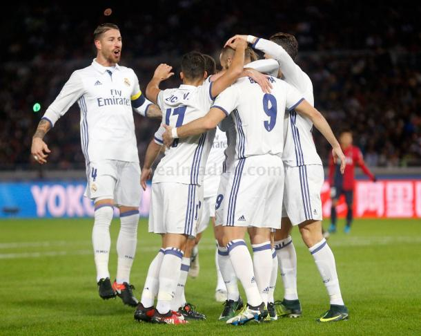 Celebración en el gol de Benzema   Foto: Real Madrid
