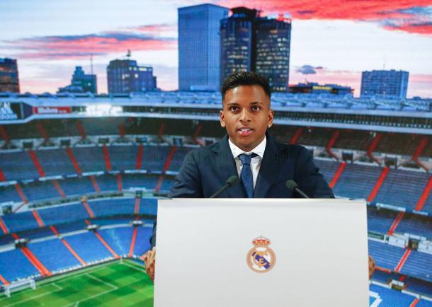 Rodrygo habla en su presentación / Foto: Real Madrid