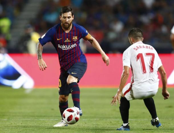 Leo Messi durante la final de la Supercopa de España / Fuente: RFEF