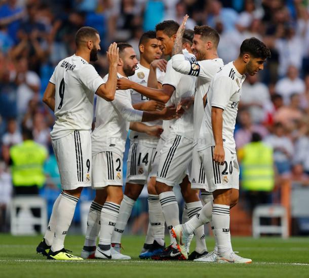 El Real Madrid celebra un gol esta temporada. Fuente Real Madrid