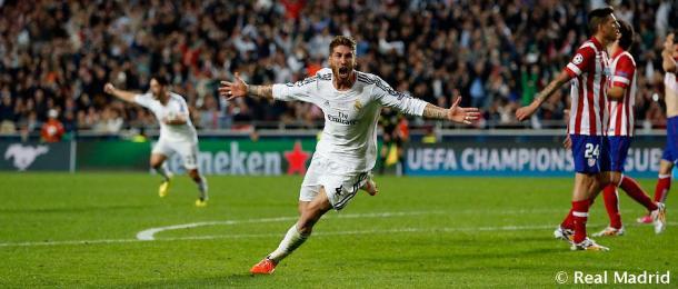 Sergio Ramos, durante la celebración del gol de La Décima   Fuente: www.realmadrid.com