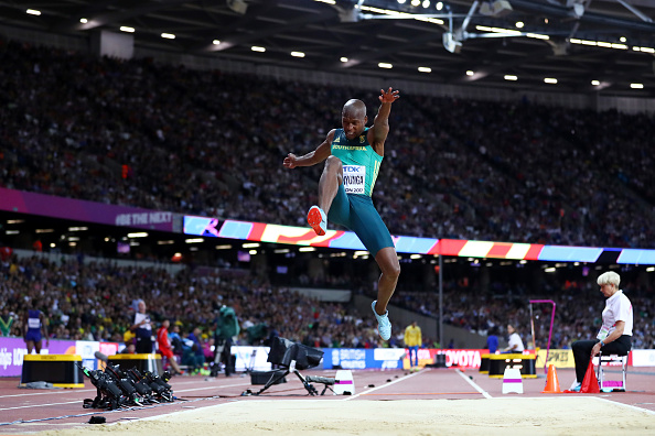 Luvo Manyonga leaping to gold (Photo: Michael Steele/Getty Images)
