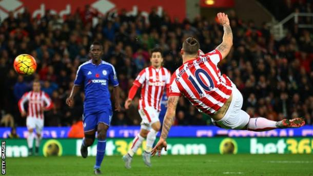 Arnautovic anota el 1-0 del Stoke ante el Chelsea | Foto: Getty Images