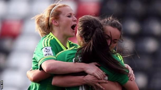 Sunderland Ladies celebrating their goal to level the score | photo source: BBC Sport
