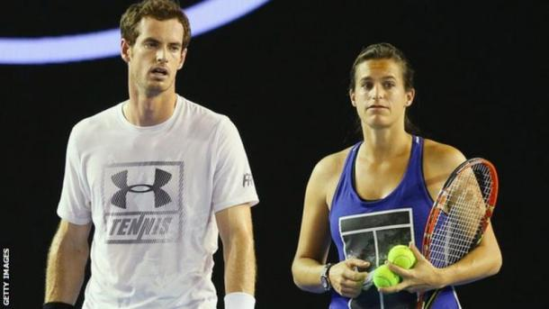 Andy Murray and Amelie Mauresmo at this year's Australian Open/Getty Images