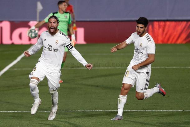 Ramos celebra el gol. Fuente: Real Madrid