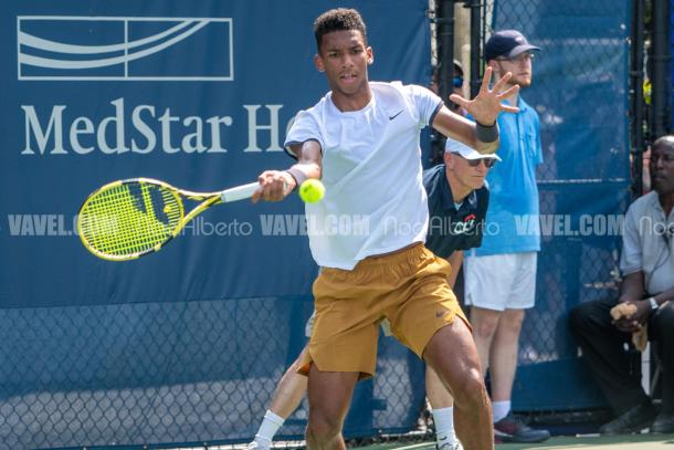 Felix Auger-Alliassime broke in the last game of the match to take the victory over Reilly Opelka (Noel Alberto/VAVEL USA)