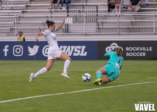 Aubrey Bledsoe had a terrific match for the Washington Spirit, making nine saves. Photo: www.twitter.com/NWSL