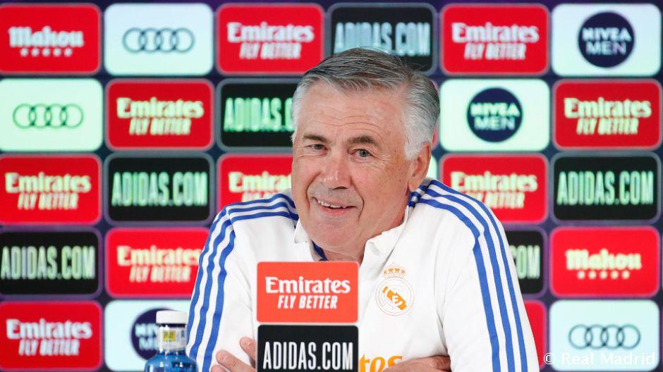Ancelotti durante la rueda de prensa/ Fuente: Real Madrid