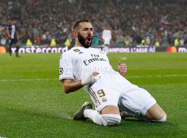 Karim Benzema celebrando un gol. FOTO: Helios De La Rubia, Real Madrid.