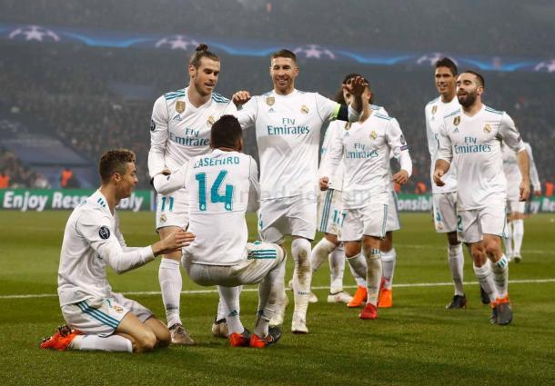 El Real Madrid celebra un gol ante el PSG   Fuente: Real Madrid