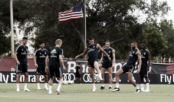 Entrenamiento matutino antes del partido versus Man. United   Foto: Real Madrid C.F.