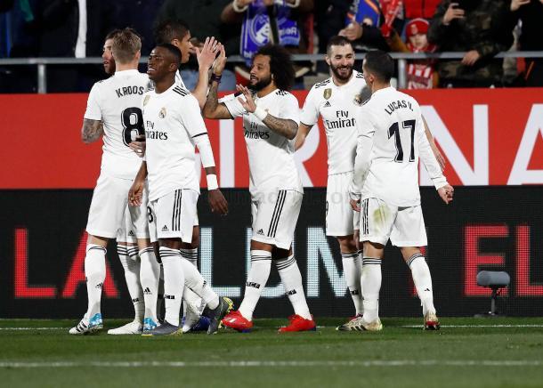 Los jugadores del Madrid celebran uno de los goles ante el Girona/ Foto: Real Madrid