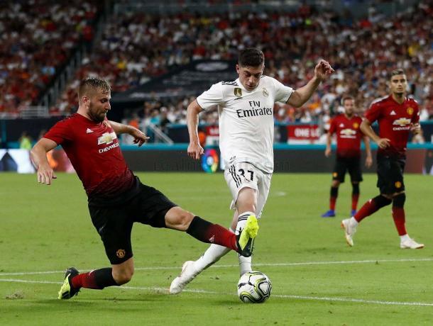 Fede Valverde durante el último partido frente al Manchester Unites | Foto: Realmadrid.com