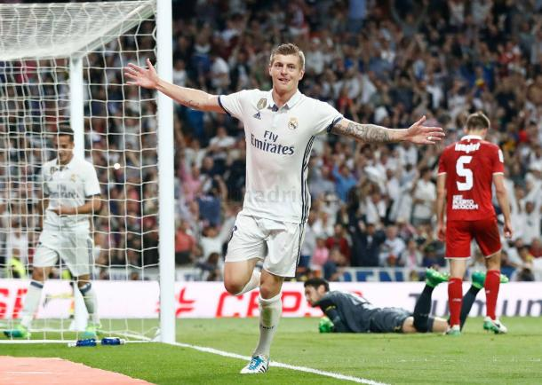 Toni Kroos celebrando el gol | Foto: Real Madrid