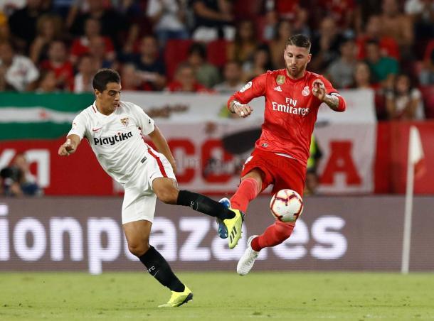 Sergio Ramos y Ben Yedder / Foto: Real Madrid