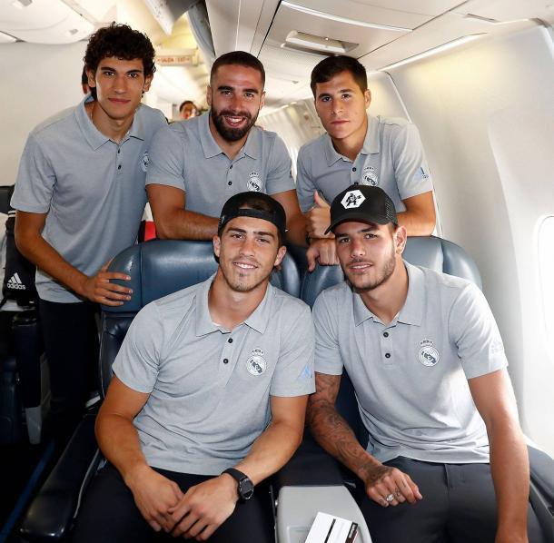 Vallejo, Carvajal, Tejero, Rubén Yáñez y Theo, rumbo a Miami. Fuente: www.realmadrid.com
