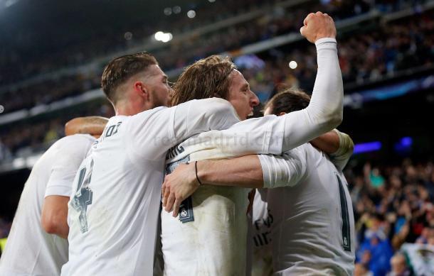 Los jugadores madridistas celebrando el tercer gol de la remontada/ Foto: Real Madrid