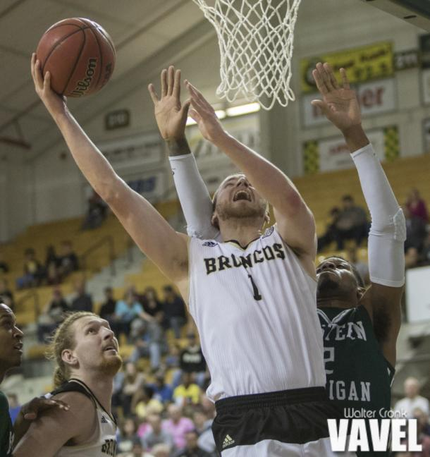 Tucker Haymond (1) go's for two points under the hoop. Photo: Walter Cronk