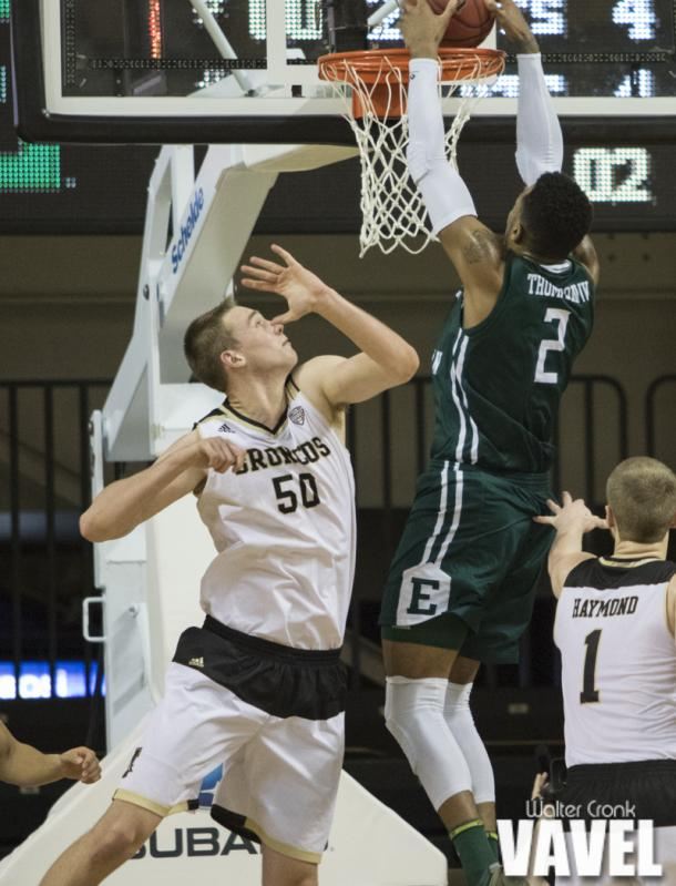 James Thompson IV (2) gets the second dunk of the night for Eastern Michigan. Photo: Walter Cronk