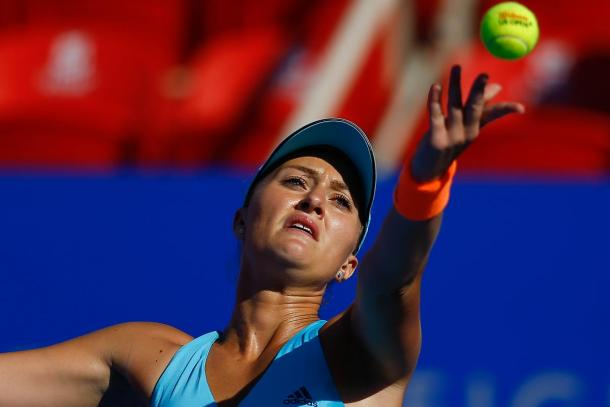 Kristina Mladenovic in action during the Mexican Open. (Photo: Mextenis)