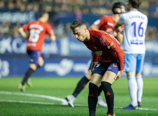Kike Barja se duele en un partido de la temporada pasada.