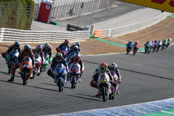 Grupo delantero del Gran Premio de Andalucía de Moto3. Imagen: MotoGP