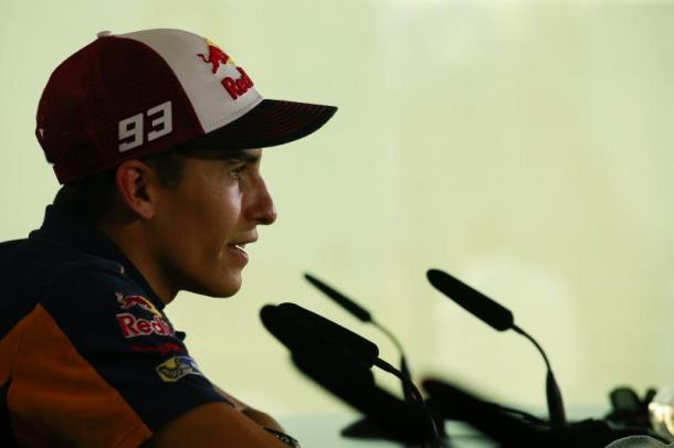Marquez discussing technicalities at the pre-race press conference at Misano - www.motogp.com