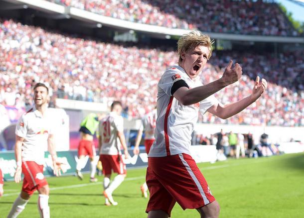 Celebración del RB Leipzig durante un partido la pasada temporada // FOTO: RB Leipzig