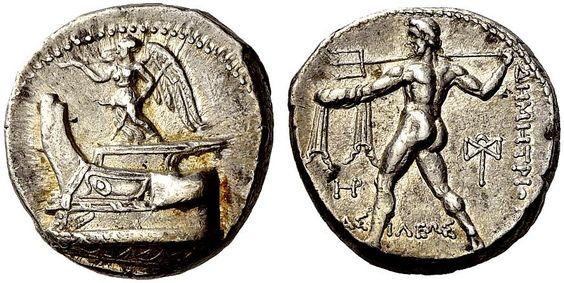 Victoria de Samotracia en moneda griega. Pinterest.