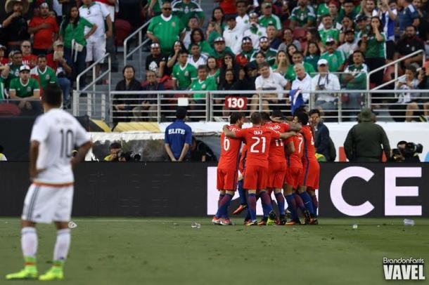 The Mexican players and fans are left stunned after Chile's 7-0 victory on Saturday at Levi's Stadium. Photo provided Brandon Farris-VAVEL USA.