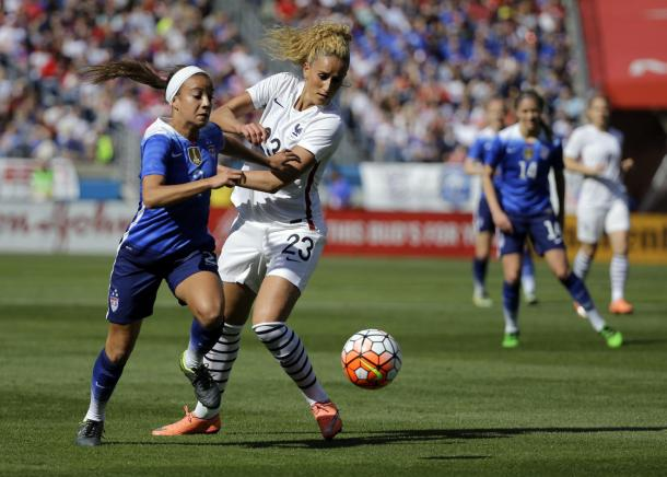 Mallory Pugh had a breakout game against France on Sunday. As she delivered the pass that set up Alex Morgan to score the winning goal. Photo provided by AP