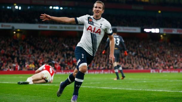 Kane celebrates scoring against Arsenal last season (photo: Getty Images)