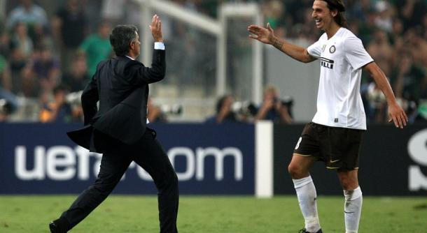 Mourinho and Ibrahimovic celebrate a goal during their Inter Milan days (AP Photo/Thanassis Stavrakis)