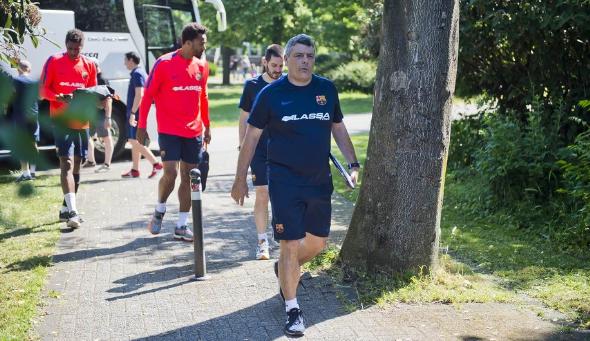 Xavi Pascual en un entrenamiento en Colonia. Foto: FCB Lassa.